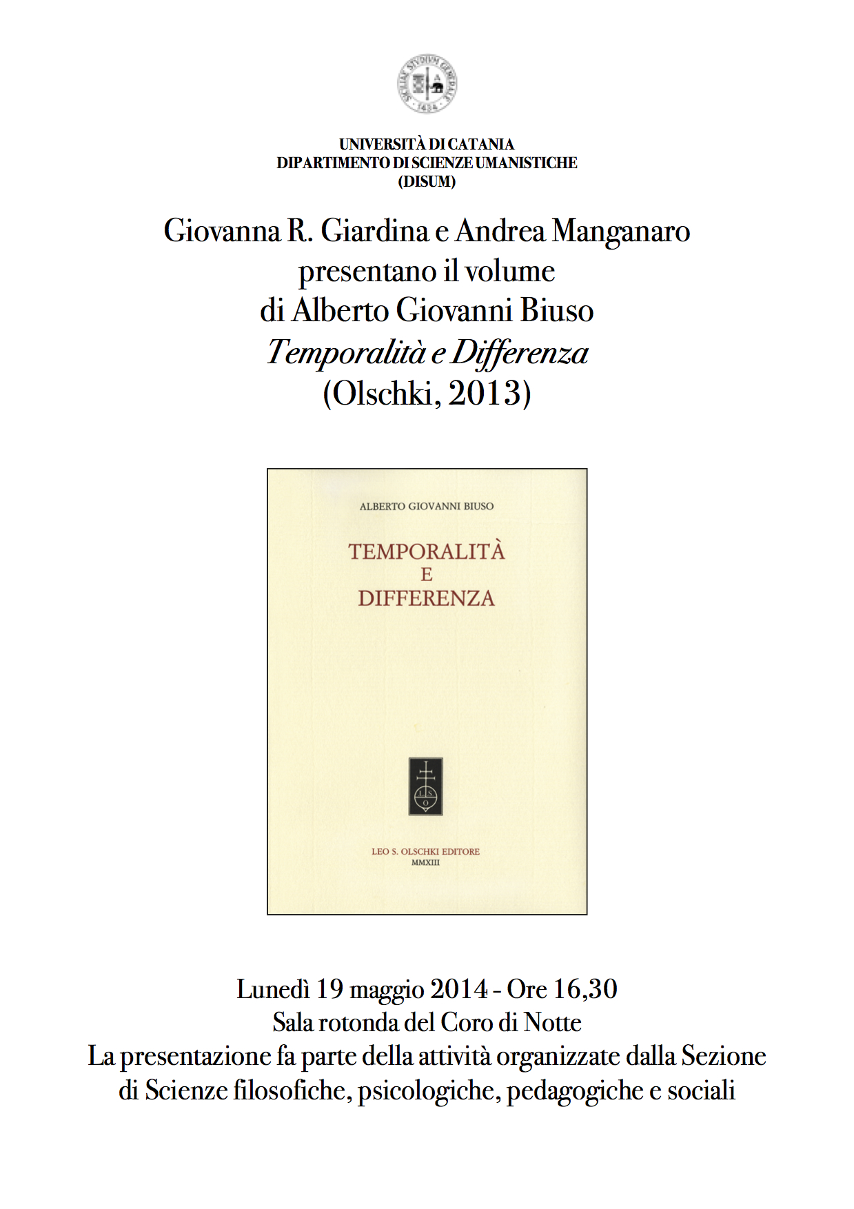 Temporalità e Differenza. Presentazione Disum