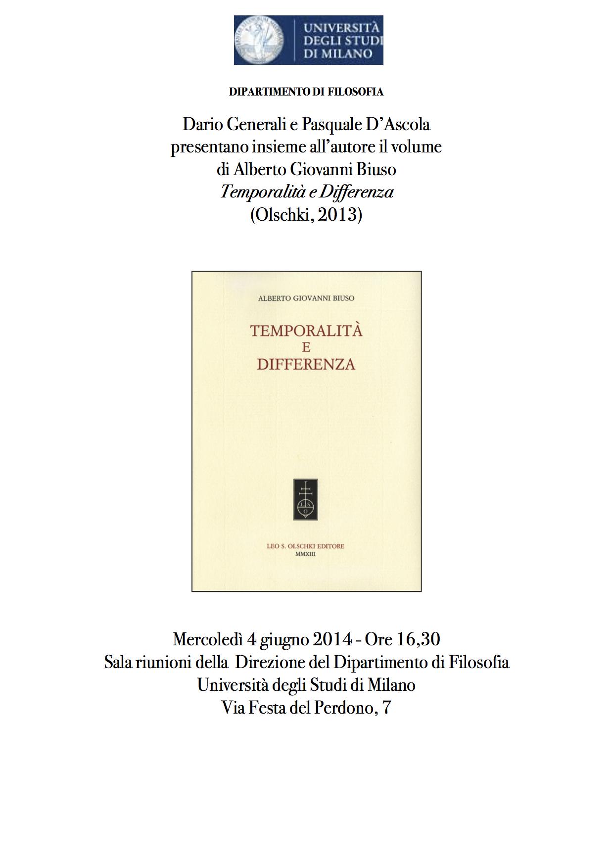 Temporalità e Differenza. Presentazione Milano